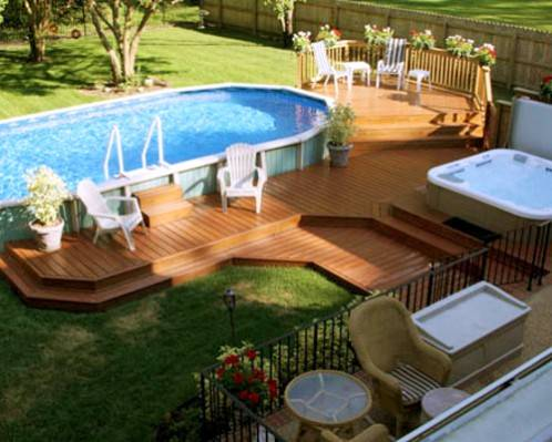 Oval above ground pool layerd half for Free deck plans above ground swimming pools